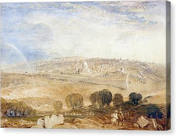 Jerusalem From The Mount Of Olives Canvas Print by Joseph Mallord William Turner