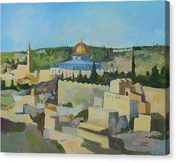 Canvas Print featuring the painting Jeruselem Rooftops by Linda Novick