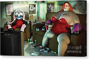 Jess 'n' Roger Canvas Print by Steve Cutts