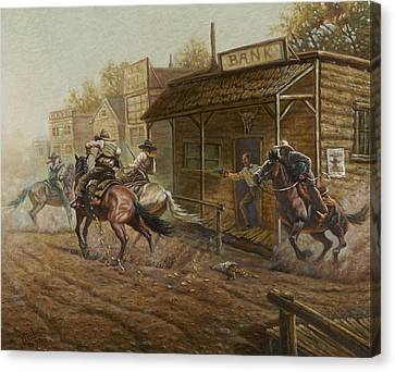 Jesse James Bank Robbery Canvas Print by Gregory Perillo