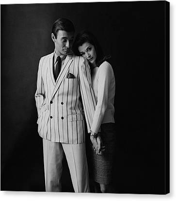 Young Man Canvas Print - Jessica Walter Posing With A Male Model by Leonard Nones
