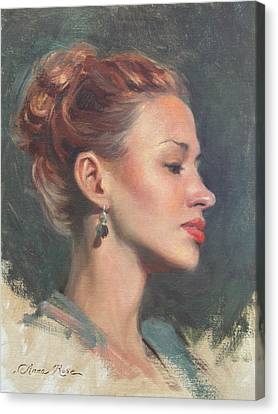 Red Lips Canvas Print - Jessie In Profile by Anna Rose Bain