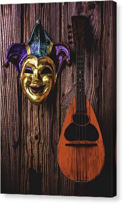 Jester Mask And Mandolin Canvas Print