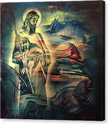 Jesus And The Lost Sheep 2004 Canvas Print by Glenn Bautista