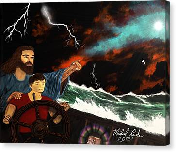 Canvas Print featuring the painting Jesus And The Sailor by Michael Rucker