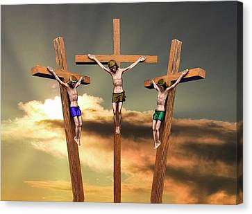 Nobody Canvas Print - Jesus And The Two Thieves On The Cross by John Short