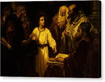 Canvas Print featuring the digital art Jesus At Temple by Heinrich Hofmann