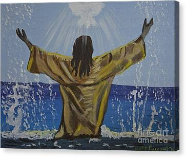 Jesus Baptism Canvas Print by Kate Farrant