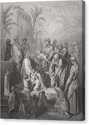 Bible Canvas Print - Jesus Blessing The Children by Gustave Dore