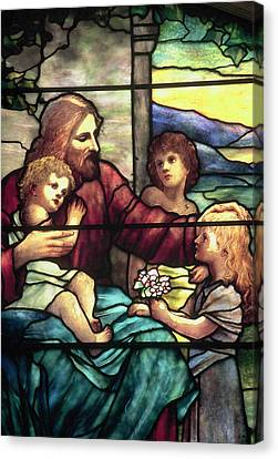 Jesus Blessing The Children In Stained Glass Canvas Print by Philip Ralley