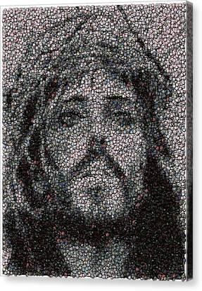 Jesus Bottle Cap Mosaic Canvas Print by Paul Van Scott
