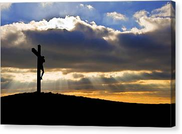 Jesus Christ Crucifixion On Good Friday Silhouette Canvas Print by Matthew Gibson