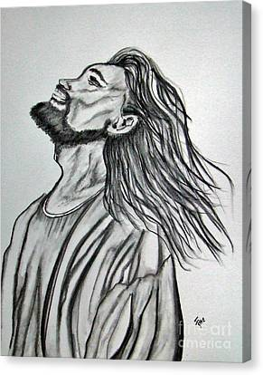 Jesus Christ Icon Canvas Print - Jesus Christ In Graphite by Janice Rae Pariza