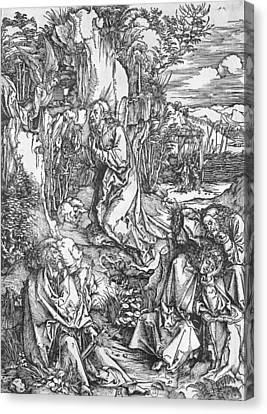 Jesus Christ On The Mount Of Olives Canvas Print by Albrecht Durer or Duerer