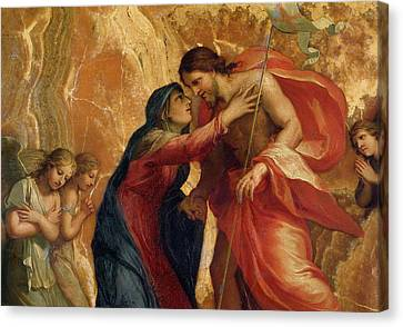 Jesus Christ Receiving The Virgin In Heaven Canvas Print