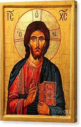 Jesus Christ The Pantocrator Icon Canvas Print by Ryszard Sleczka