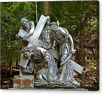 Jesus Falls The First Time Canvas Print by Terry Reynoldson