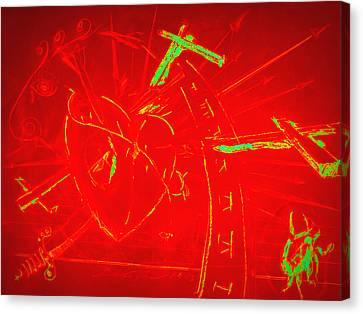 Jesus Heart Series - Flaming Heart Canvas Print by David De Los Angeles