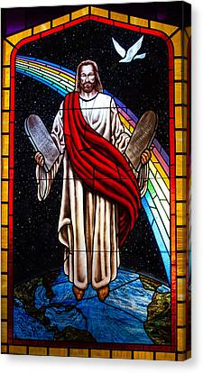 Canvas Print featuring the photograph Jesus In Stain Glass by Randy Sylvia