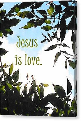 Jesus Is Love Canvas Print by Alison Breskin