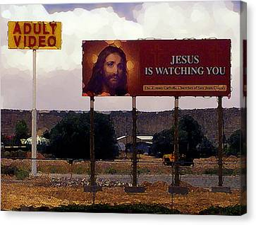 Jesus Is Watching You Canvas Print by Ron Regalado
