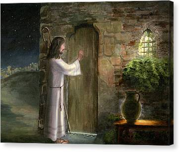 Jesus Knocking On The Door Canvas Print by Cecilia Brendel