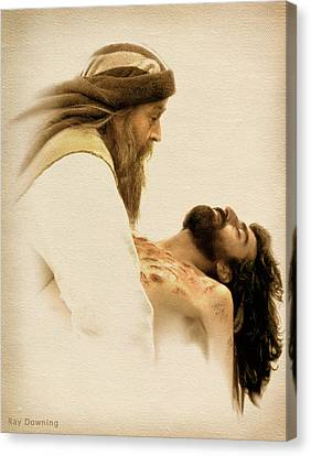 Jesus Laid To Rest Canvas Print by Ray Downing