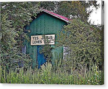 Jesus Loves You Canvas Print by Linda Brown
