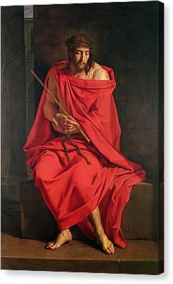 Jesus Mocked Oil On Canvas Canvas Print by Philippe de Champaigne