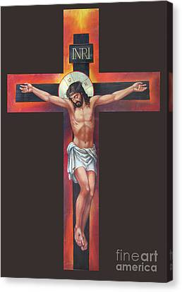 Jesus On The Cross Canvas Print by Zorina Baldescu
