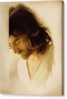 Jesus Praying Canvas Print by Ray Downing