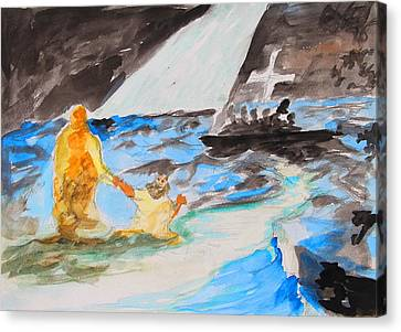 Jesus Saving Peter - Painting Canvas Print by Thomas Bertram POOLE