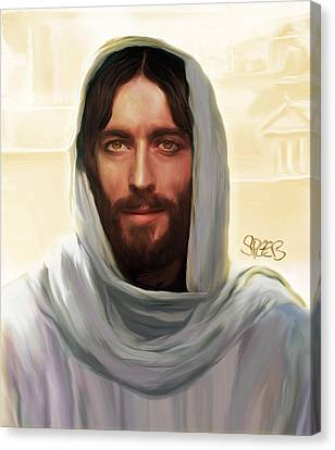 Jesus Smiling Canvas Print by Mark Spears