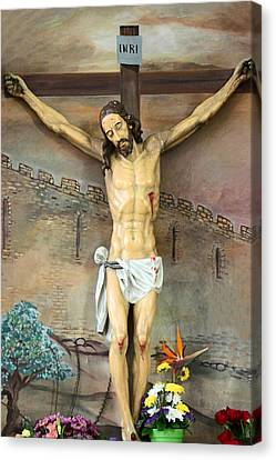 Jesus Statue At Latin Church In Taybeh Canvas Print by Munir Alawi