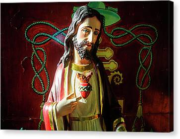 Jesus Statue Of The Interior Canvas Print by Michael Runkel