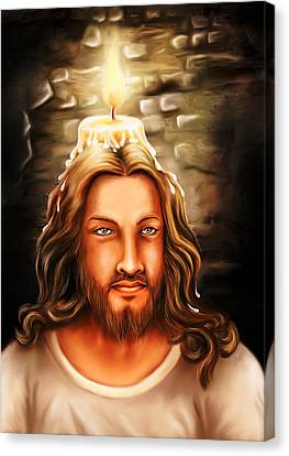 Jesus- The Candle Light Canvas Print by Arun Sivaprasad