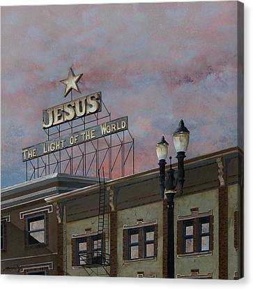 Jesus The Light Of The Word Canvas Print by John Wyckoff