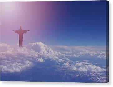 Jesus Walking On Clouds Canvas Print