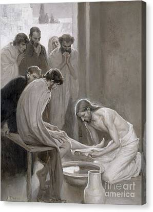 Bible Verse Canvas Print - Jesus Washing The Feet Of His Disciples by Albert Gustaf Aristides Edelfelt