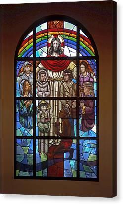 Jesus With Children Window Canvas Print by Sally Weigand