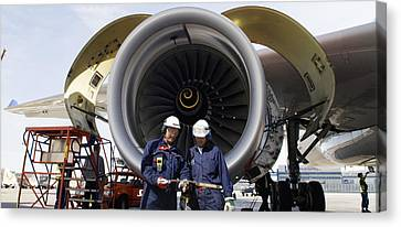 Jet Engine And Air Mechanics Canvas Print by Christian Lagereek