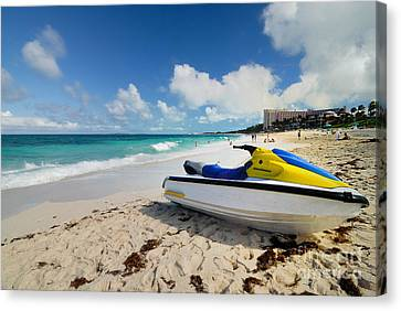 Jet Ski On The Beach At Atlantis Resort Canvas Print by Amy Cicconi