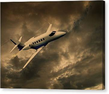 Canvas Print featuring the photograph Jet Through The Clouds by David Dehner