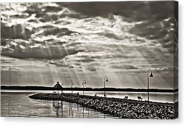 Jetty And Sunrays In Bw Canvas Print by Greg Jackson