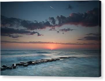 Jetty And The Sun Canvas Print by Josh Eral