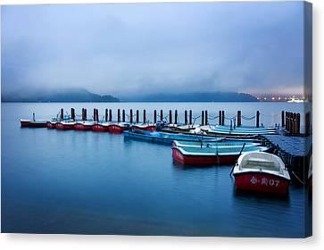 Jetty At Sun Moon Lake Canvas Print by Yew Kwang