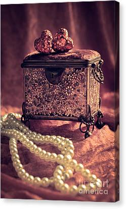 Jewel Casket And Pearls Canvas Print by Amanda Elwell
