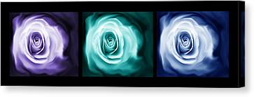 Jewel Tone Abstract Roses Triptych Canvas Print by Jennie Marie Schell