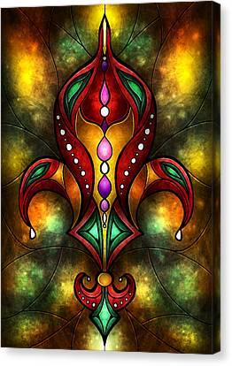 Jeweled Fleur De Lis Canvas Print by Mandie Manzano