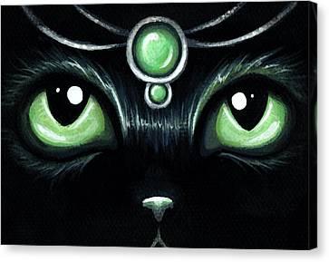 Jeweled Kitty 10 Mint Jade Canvas Print by Elaina  Wagner